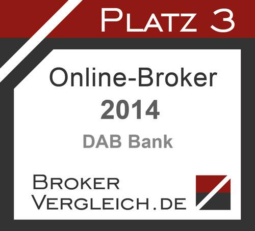 Platz 3 Online-Broker 2014 DAB Bank