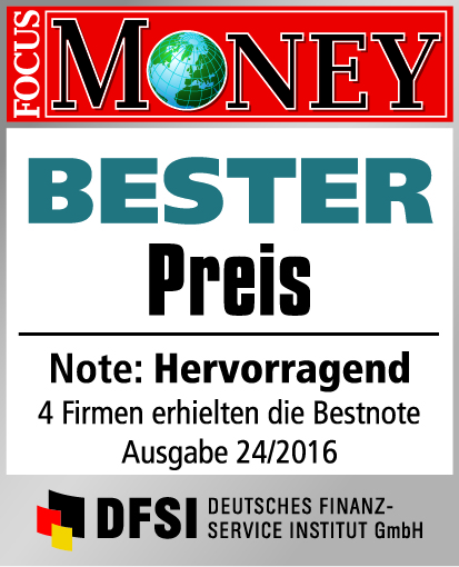 Bester Preis - Testsiegel Focus Money 2016 / 24