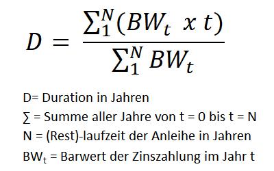 Formel zur Berechnung der Duration von Anleihen