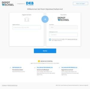 Dieser Screenshot zeigt den Depotwechselservice von FinReach und der DKB