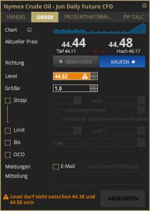Ordermaske ETX Trader Pro