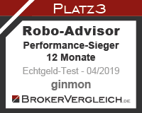 Robo-Advisor Echtgeldtest Performance 12 Monate Platz 3